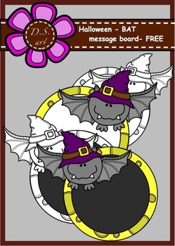 Halloween - BAT - message board Digital Clipart (color and black&white)
