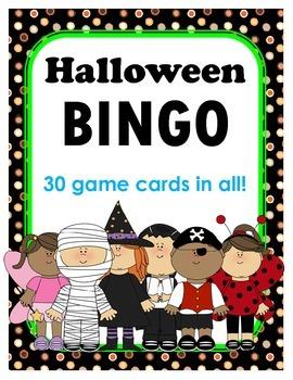 Halloween BINGO + 12 bonus pages of vocabulary words