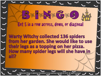 Halloween BINGO - Mult. and Div. Story Problems with a Halloween Twist