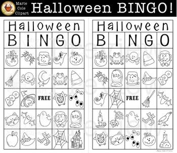 Halloween BINGO! Printable Game [Marie Cole Clipart]