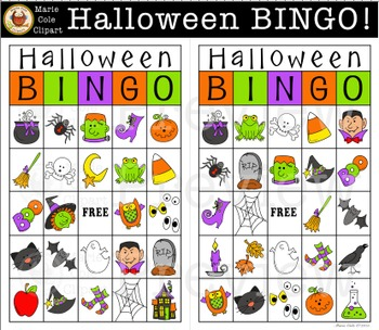 graphic about Halloween Bingo Printable named Halloween BINGO! Printable Recreation [Marie Cole Clipart]
