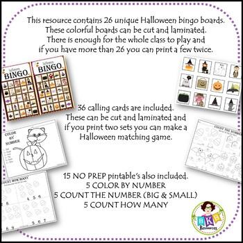 Halloween Bingo ● Halloween Math ● Games ● NO PREP Printables ● Math Centers