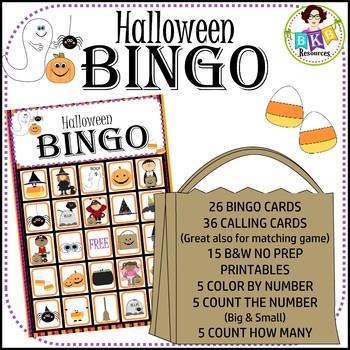 Halloween Bingo ● Halloween Math ● Games ● NO PREP Printab