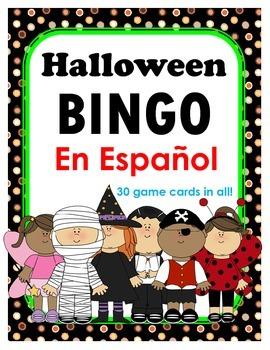 Halloween BINGO en Espanol + 12 bonus pages of vocabulary words