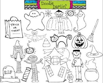 Halloween BLACK  & WHITE Clipart Set