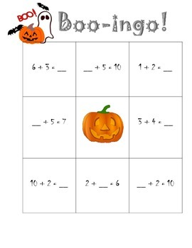 Halloween BOO-ingo missing addends!