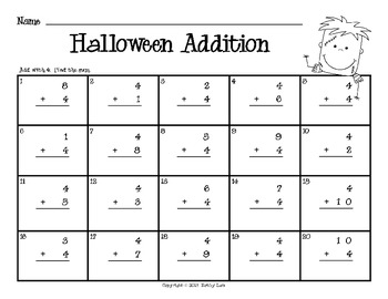 Halloween BUMP -- Addition & Subtraction Fact Fluency Games