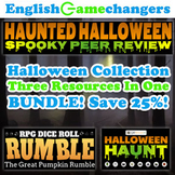 Halloween BUNDLE: Reverse Escape Room, Essay Writing, & Peer Review Activities!