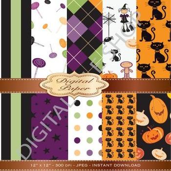 Halloween Background Clipart / Pattern Clip Art / Digital Paper - Crafts
