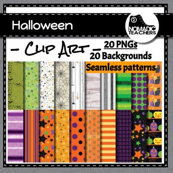 Halloween Backgrounds Digital Papers - 20 patterns