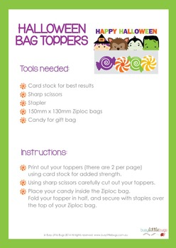 Halloween Bag Toppers - Halloween Treat