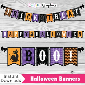 Halloween Bunting Sign Banner October Pennant Classroom De