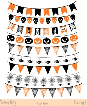 Halloween Banner Clipart, Halloween Digital Bunting, Flag, Garland Clipart