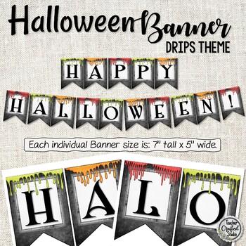 Halloween Banner Chalkboard Drips - Classroom Banner