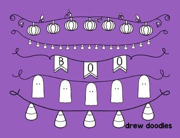 Halloween Banners Digital Clip Art- Black Line Version