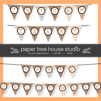 Two Halloween Banners Bundle - Two Full Size Print Ready PDF Files