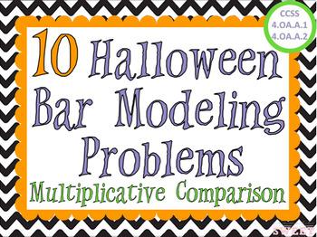 Halloween Bar Modeling Word Problems - Multiplicative Comparison