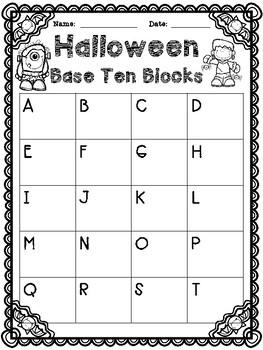 Halloween Base Ten Block Task Cards Numbers to 99