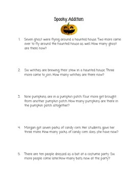 Halloween Basic Addition Word Problems