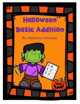 Halloween Basic Addition Math Worksheet(sums up to 10)