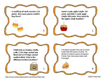 Halloween Basic Operations Word Problems Task Cards