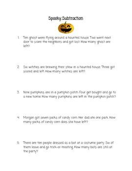 Halloween Basic Subtraction Worksheet