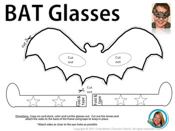 Halloween Bat Activities  BAT and BOO Glasses