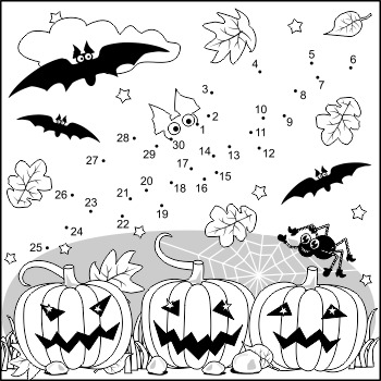 Halloween Bat Connect the Dots and Coloring Page, Commercial Use Allowed