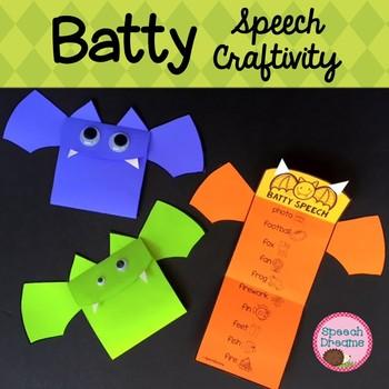 Halloween Bat Craft articulation language craftivity {fall craft}