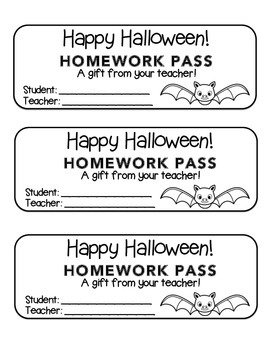 """Halloween"" Bat - Homework Pass –Holiday FUN! (color & black line version)"