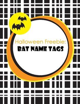 Halloween Bat Name Tags FREE
