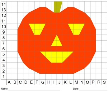 Halloween, Bat, Spider, Pumpkin, Coordinate Drawing & Graphing, Color Grid
