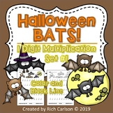 Halloween Bats 1 Digit Multiplication Set 1! Halloween FUN! (Color andBlackLine)