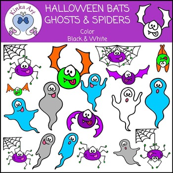 Halloween Bats Ghosts and Spiders Clip Art