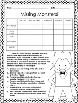 Halloween Beginner Logic Puzzles  8  Puzzles For Grades 2, 3 & 4!