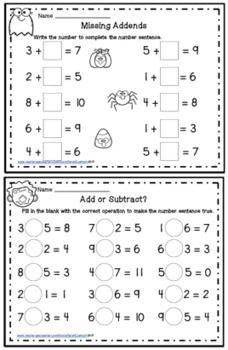 Halloween Beginning Addition and Subtraction Worksheets