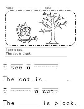 Halloween Beginning Comprehension, Labeling, & Sentence Writing for K &  1st