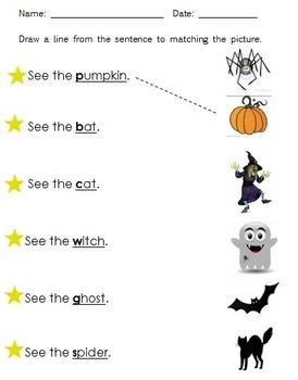 Halloween Beginning Consonant Sentence Match