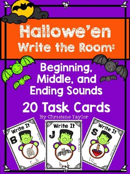 Halloween Beginning, Middle, Ending Sounds Task Cards/Roam the Room Activity