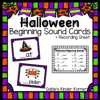Halloween Beginning Sound Cards +Recording Sheet!