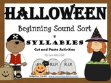 Halloween Beginning Sound Sort and Syllables Cut and Paste