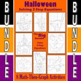 Halloween - Big Bundle - 8 Math-Then-Graph Activities - Solve 2-Step Eqs