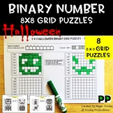 Halloween Binary Number Grid Puzzles - 8 x 8 grids, 8 puzzles, notes, answers.