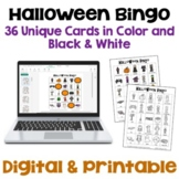 Halloween Bingo with 36 Unique Game Cards in Color and Black and White