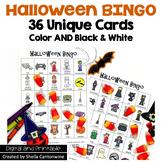 Halloween Bingo - 36 Unique Game Cards in Color and Black