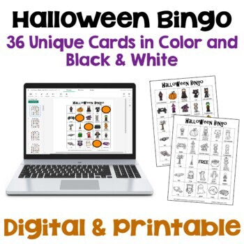 Halloween Bingo - 36 Unique cards in Color and Black & White