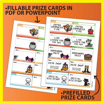 Halloween Bingo Activity with bonus Rewards Cards