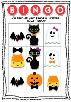 Halloween Bingo Board with cards