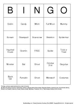 Halloween Bingo Cards - 10 Unique Pages