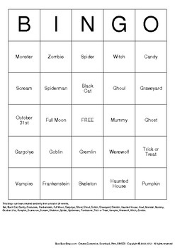 Halloween Bingo Cards - 100 Unique Pages